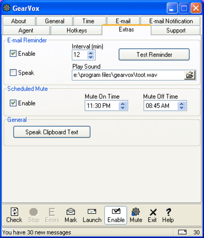 Additional Options, e-mail reminders, scheduled sound mute, read the text on the clipboard